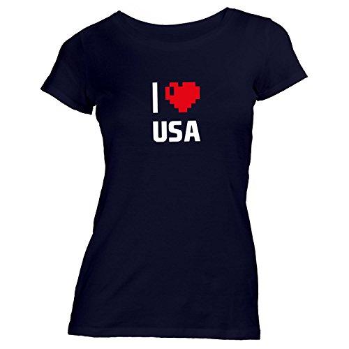 Damen T-Shirt - I Love USA - Amerika Reisen Herz Heart Pixel Schwarz