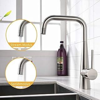 Amadi Kitchen Mixer Tap Kitchen Sink 360° Rotatable Fittings Brushed Nickel