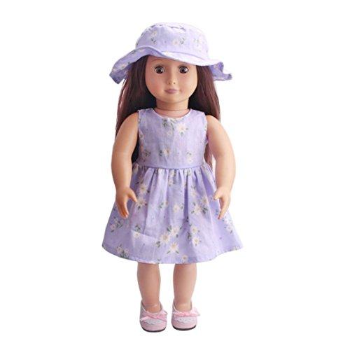 vovo Vovotrade Mädchen Täuschen Spielen Spielzeug Geschenke, Puppen Outfits, Hochwertige Rock + Hut Für 18 Zoll Unsere Generation American Girl Doll (D, Passend für 18 Zoll Puppen)