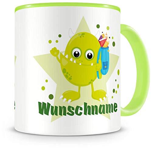 Samunshi Kinder-Tasse mit Namen und einem grünen Schul-Monster als Motiv Bild Kaffeetasse Teetasse...