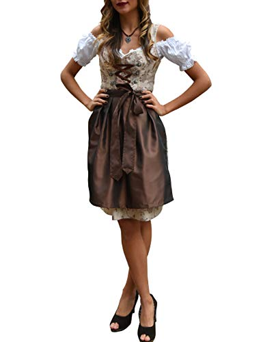 Golden Trachten-Kleid Dirndl Damen 3 TLG, Midi für Oktoberfest, mit Schürze und Bluse - Traumhafte 3 Teilig Kostüm