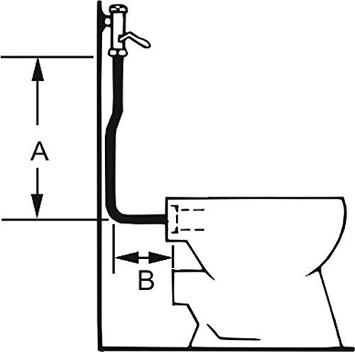 Cornat Druckspülrohr, Kunststoff gekröpft 35 mm, A 700 mm, B 250 mm, C Durchmesser 26/28 mm, 1 Stück, weiß, T362202