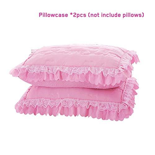 myonly Bettbezug, Bettrock, einfarbig, Rüschen, Prinzessinnen-Spitze, Rock, Tagesdecke, Bettlaken, Dicke, King-Size-Größe, 150 x 200 cm, 2 Stück F: Pillowcase 2pcs (Queen-bett-plattform Weiße)