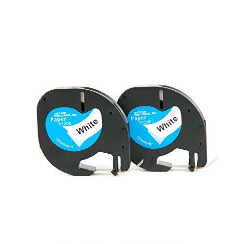2 Rolle LetraTag 91220 / S0721510 Etikettenband Papier Selbstkleben Kompatibel für DYMO P-Touch Band Schwarz auf Weiß 12mm x 4m Hersteller