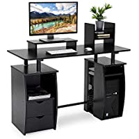 CRAZYLYNX Computer Desk, Office Study Desk Computer PC Laptop Table Workstation Dining Gaming Table with shelf, Cupboard and 2 Drawers for Home Office, Black Wood Grain