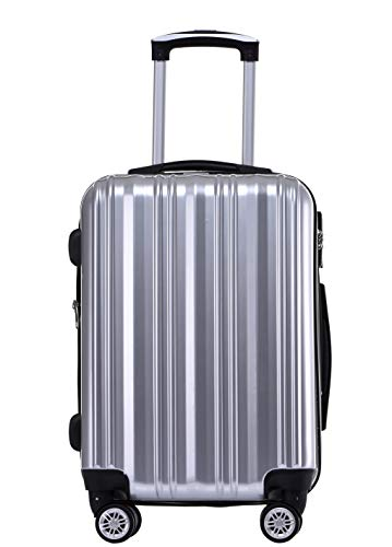 Münicase Münicase- Hartschalen Koffer Reisekoffer Trolley Rollkoffer Polycarbonat TSA-Schloß Kofferset Gepäckset (Silber, Großer Koffer (ca.76cm))