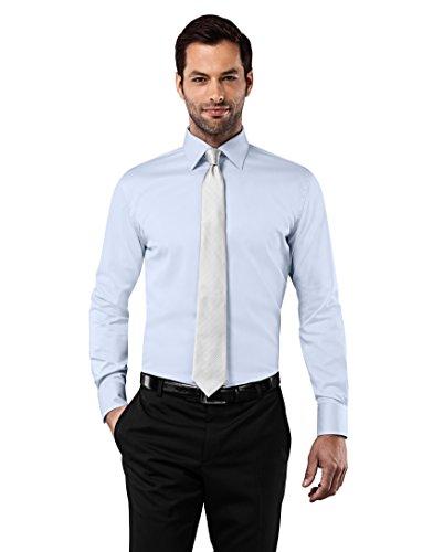 Vincenzo boretti camicia uomo eleganti, taglio aderente/slim-fit, collo classico, manica lunga, in tinta unita - non stiro/non-iron blu ghiaccio 41/42