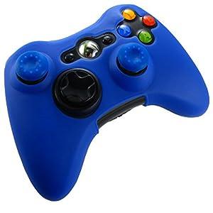Pandaren® Silikon hülle skin für Xbox 360 controller (dunkelblau) x 1 + thumb grip aufsätze x 2