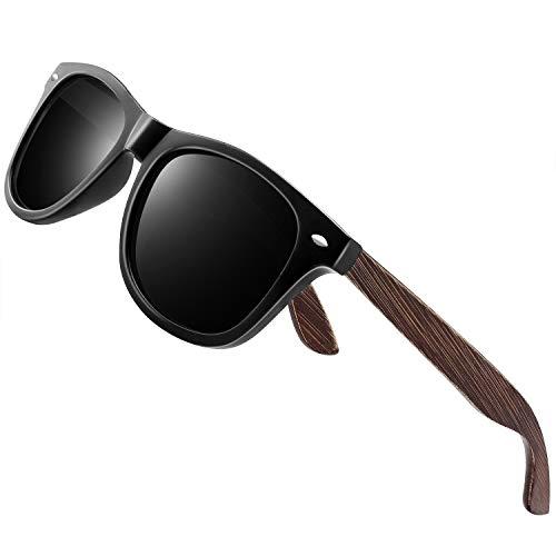 wearpro Sonnenbrille Herren Polarisierte Walnussholz Holz Männer Frauen Sonnenbrillen UV400 Mode für das Reisen mit polarisierten Gläsern W1003 (bw-mblackNail)