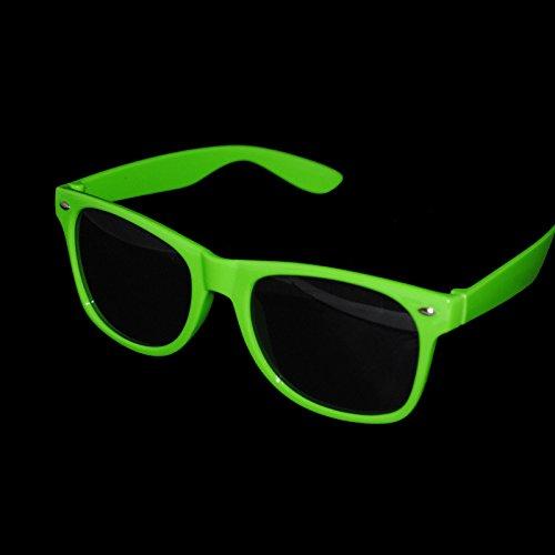 Grün Damen Herren Sonnenbrille Wayfarer Aviator Style Neon 80er Retro Fashion Shades UV43