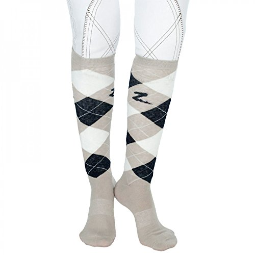Horze Holly Argyle Socken, Kniestrümpfe Reitsocken- Gr.36-38, Koriander(STG) (Argyle Fashion Socken)