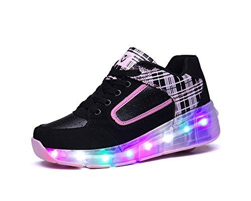 Feicuan Unisex Kinder Adult LED Leuchtend Sportschuhe Roller Wheel Turnschuhe Skate Schuhe Black-Pink