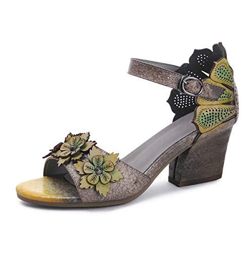 Suetar Damen Vintage Echtleder 5.5CM Block Heel Sandalen Sommer Elegante Retro Low Heel Peep-Toe Sandalen für Damen