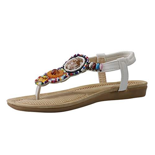 ODRD Sandalen Shoes Damen Damen Perlen Lässige Flache Gummiband Böhmische Sandalen Sandalen LeisureLeisure Schuhe Strandschuhe Freizeitschuhe Turnschuhe Hausschuhe Pumps Slipper