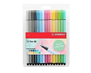 STABILO Pen 68 - Pochette de 15 feutres pointe moyenne - Couleurs pastel