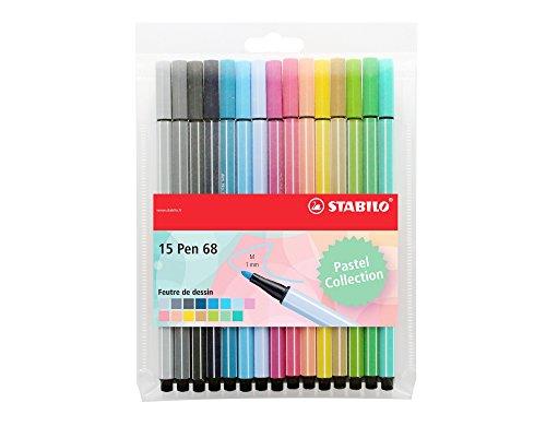 Stabilo Pen 68–Filzstifte, mittlere Spitze Pochette de 15 feutres Couleurs Pastel