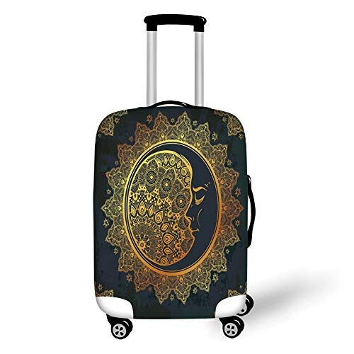 Travel Luggage Cover Suitcase Protector,Gold Mandala,Intricate Ornate Bohemian Crescent Moon with Star Figures and Mystic Mandala Decorative,Gold Black,for Travel,L -