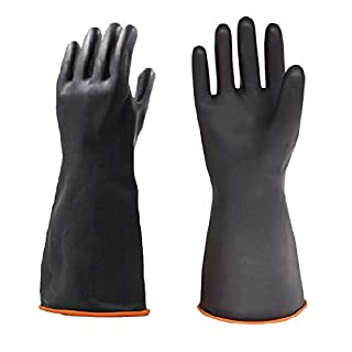 Gants en latex résistants, protection de travail de sécurité, imperméable, en caoutchouc industriel, résistant à l'acide fort, à l'alcalin et à l'huile, 35cm, 1 pair, 2