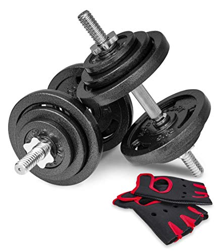 Hop-Sport Guss Kurzhanteln Hantel Set Hanteln 10kg 15kg 20kg 30kg 40kg 60 kg Gewichte (2 x 20 kg)