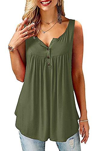 AMORETU T-Shirt Damen V-Ausschnitt Knopfleiste Bluse Solide Tunika Sommer Tops , Tanktop-armeegrün, XXL/DE 54-56
