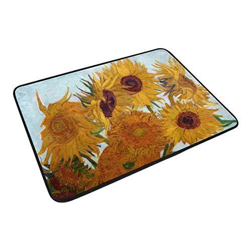 XiangHeFu Teppich, 59,9 x 39,9 cm, Fußmatte, Kunstgemälde, Sonnenblume, weicher Teppich, personalisierbar, für Küche, Wohnzimmer, Esszimmer, Schlafzimmer