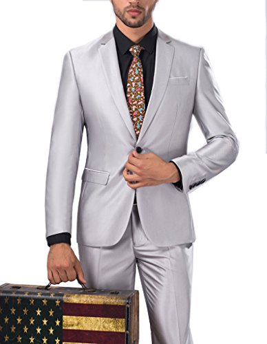 GEORGE Leisure Suit tre pezzi abiti da uomo vestito dello sposo groomsmen uomo di 11 colori Argento