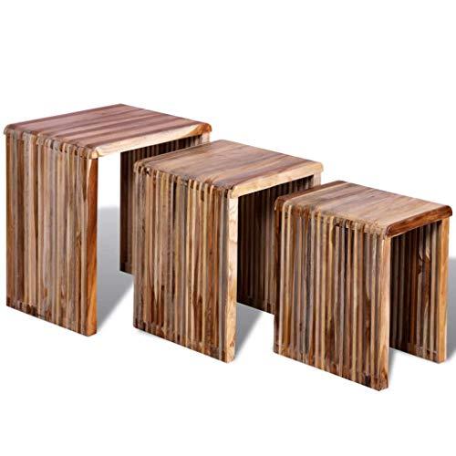 GoodWork4UEu Satztisch-Set 3-TLG. Recyceltes Teakholz Möbel Tische Ziertische Beistelltische