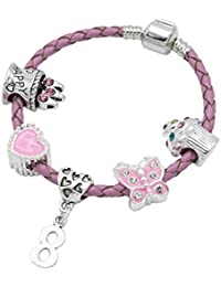 Children's Pink Leather Happy 8th Birthday Charm Bracelet With Lovely Jewellery Hut Gift Pouch - Girl's & Children's Birthday Gift Jewellery