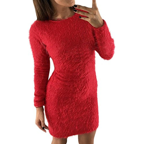 Lange Pullover Sunday Winter Langarm Feste Strickjacke Vlies Warmes Grundlegendes Kurzes Minikleid (Rot, L)