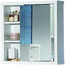 Intradisa 8910 - Armario de baño con 1 puerta de espejo lateral blanco