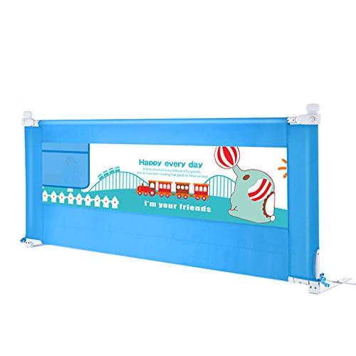 Bettgitter Bettschutzgitter 200cm langes Bett-Geländer für Kinder für Twin-Bett-Metall, Justierbare Sicherheits-Bedrail-Bett-Schutze mit Organisator-Beutel, für Plattform-Bett (Farbe : Blau) -