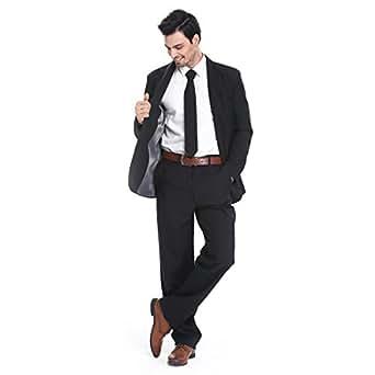 YOU LOOK UGLY TODAY Modisch Normaler Schnitt Herren Party Anzug Weihnachten Kostüme Festliche Anzüge Party Suits einheitliche Farbe -Schwarz/XXL