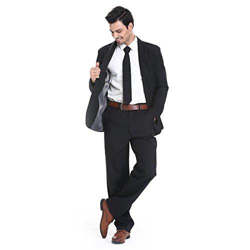 YOU LOOK UGLY TODAY Modisch Normaler Schnitt Herren Party Anzug Weihnachten Kostüme Festliche Anzüge Party Suits einheitliche Farbe -Schwarz/L (Anzüge Herren-designer)