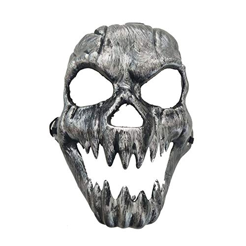 Erduo Scary Ghost Maske Halloween Kostüm Masken Full Face Masken Party Kostüme Prop Masquerade Zubehör Face Decor - Silber