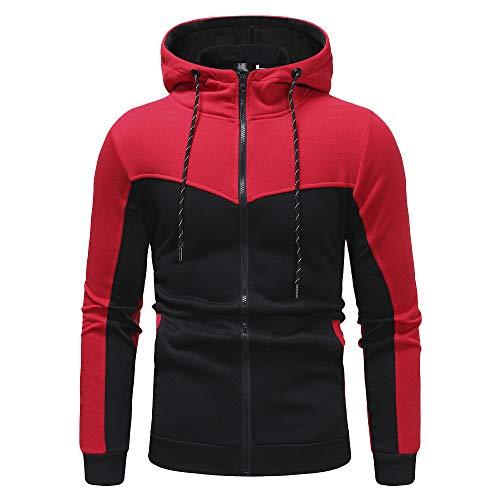 (Yvelands Herren Sweatshirt Herbst Winter Pawork Sweatshirt Top Hose Sets Sportanzug Trainingsanzug(EU-54/L3,Rot(top)))