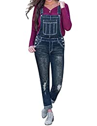 ALIKEEY Femmes Casual Denim Bib Pants Hole Salopette Jeans Pantalon en à  Rayures Barboteuses Femme Ceinture d7df64c2c0a