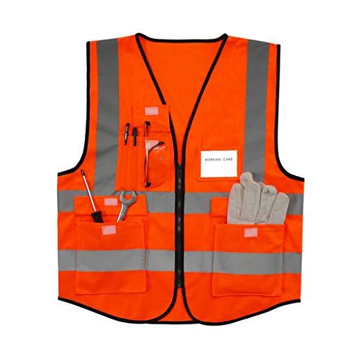 Reflektierende Weste Bau Weste Sicherheitskleidung Reflektierende Kleidung Fluoreszierende Kleidung L/XL/XXL (Color : Red, Größe : XXL)