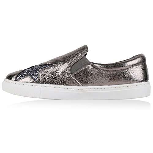 Damen Sneakers Slipper Slip-ons Glitzer Skaterschuhe Flats Grau Metallic