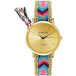 Dalas MINGBO Bijou V6 Beach Style Women's Watch Braided Bracelet Colour Turquoise Pink Gold Watch Blogger Arabic Numerals Hippie Boho Festival Women's World Map: Friendship Bracelet