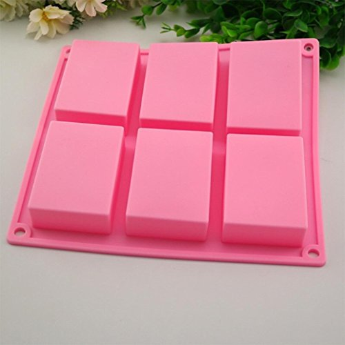 IGEMY 6 Cavity Plain Basic Rectangle Silicone Mould For Homemade Craft Soap Mold (Pink)