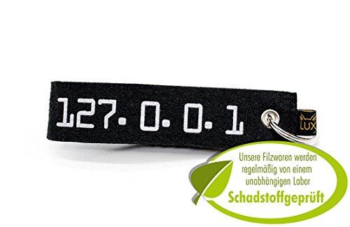 Fieltro llavero para Geeks, Nerds y de ordenador frikis (Gadget y regalo), 127.0.0.1 (Negro) - LX1704