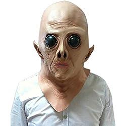 Ruikey Horror Máscara Alien Máscara de Latex Scary Máscara de Halloween Máscara de Full Face Mascara Cosplay Horror Fantasmas Tricky Prop para Adultos