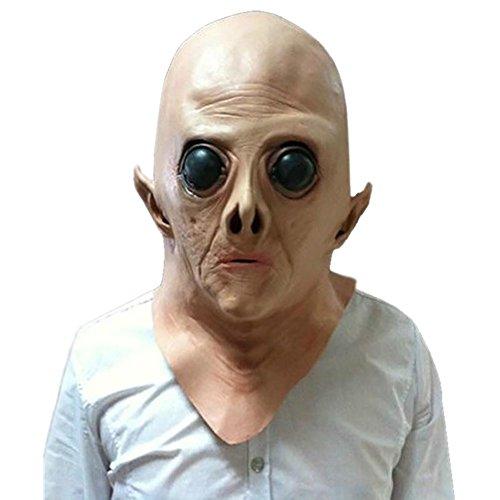 Hacoly Alien Horror Maske Halloween Latex Cosplay Außerirdische Masken Verwesender Gruseliger Zombie Totenkopf Maske Adult Kostüm ()