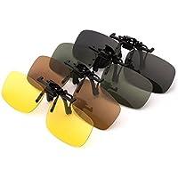 PChero 4-Pack Occhiali da Sole Polarizzati Clip-on, visione notturna Giallo + Grigio + Marrone + Verde Scuro - (Medio)