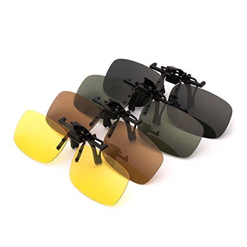 PChero 4-Pack Clip-on Polarisiert Brille für Outdoor-Aktivitäten, Nachtsicht Gelb + Grau + Dunkelbraun + Dunkelgrün - (Mittel) (Clip-on-brille Nachtsicht)