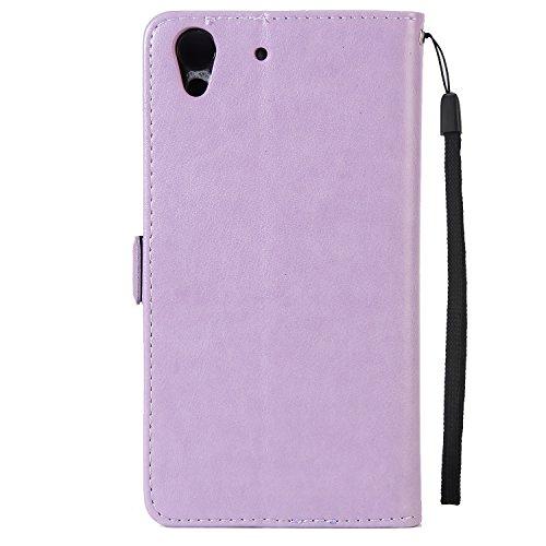 Fairy Girl & Flowers Embossing Pattern PU Ledertasche Horizontale Flip Stand Brieftasche Tasche mit Lanyard & Card Slots Für Huawei Hornor 5A ( Color : Pink ) Purple