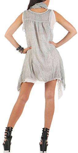 malito Damen Trägerkleid kurz   elegantes Mini Kleid   schickes Freizeitkleid mit Halstuch   Strandkleid 7503 Hellgrau