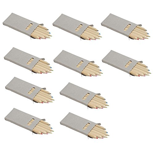 60 Buntstifte nach EN71-3 und EN71-1 zertifiziert in 10 Sets mit je 6 Buntstiften als Party Mitgebsel auch für Restaurants oder Hotels oder im nachhaltigen Papp Etui von notrash2003®
