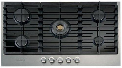 KitchenAid KHGH Kochfeld–Platte (integrierte, Kühlschrank, Glas, Rotation, Vorderseite, 13300W) schwarz, Edelstahl