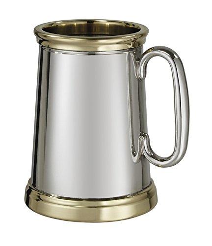 Wentworth Zinn-Wortley X Reihe Zinn und Messing 1Pint Bierkrug, schwer (Messing-teller Gravur)